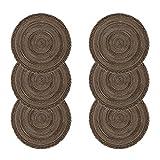 U'Artlines 6er Set Platzsets Hitzebeständigen Waschbaren Woven Vinyl Tischsets Rutschfest Rund (rund, Geflochten braun)