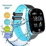 GPS Kinder Smartwatch Telefon IP67 Wasserdicht Remote Photo SOS Notruf Telefonfunktion Live GPS LBS Positionierung Kamera Wecker Geschenk für Jungen und Mädchen (Blau)