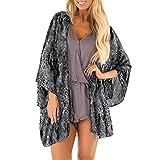 JIANGfu Womens Snakeskin Print Sheer Chiffon Cover up Blouse Ladies Summer Casual Beach Kimono Cardigan Three Quarter Sleeve Shawl Loose Tops Outwear