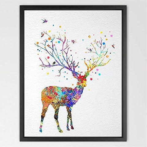 dignovel Studios Árbol de ciervo cuerno acuarela ilustración art print Póster guardería arte decoración del arte colgar en la pared de pared para Art boda cumpleaños regalo n055-unframed