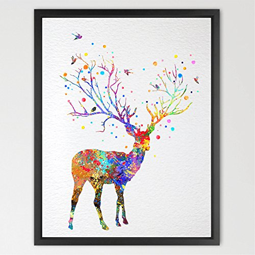 dignovel Studios Deer Baum Horn Aquarell Illustration Kunstdruck Wall Art Poster Kinderzimmer Art Decor Print Wandbehang Kids Art Hochzeit Geburtstag Geschenk n055-unframed, Papier, N055-Deer horn, A4: 21.0 x 29.7cm