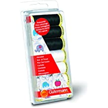 Gutermann Sew-All - Juego de hilos de costura (7 bobinas de 100 m, 100 % poliéster), color negro y blanco