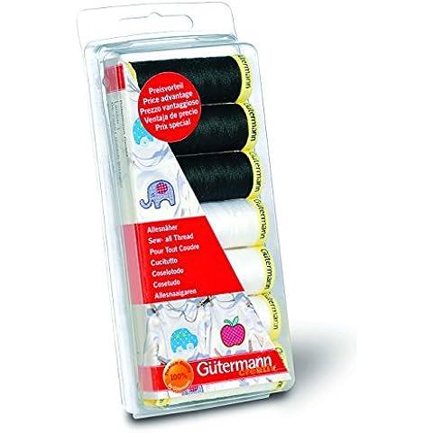 Gutermann Sew-All - Juego de hilos de costura (7 bobinas de 100 m, 100 % poliéster), color negro y
