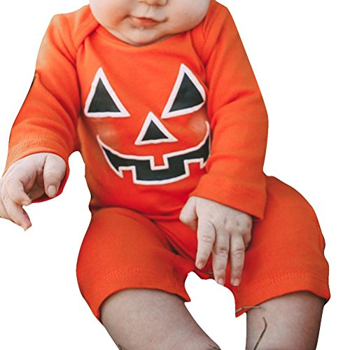 Kinder Baby Mädchen Junge Halloween Kürbis Teufel Spielanzug Overall Trikot_Hirolan (70cm, Orange) (Tuxedo Trikot Kostüm)