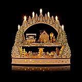 Großer 3D Schwibbogen Winterlandschft mit LED-Beleuchtung, drehender Pyramide und Timer - Hochwertig und detailreich verarbeitet - Weihnachtsdekoration (Anthrazit)