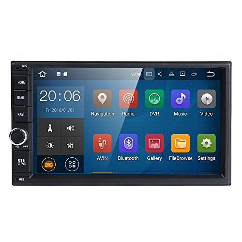 Universal 2Din Car Auto Radio GPS Navigation HIZPO 7 inch Touchscreen Android 7.1 OS 2GB RAM In Dash MultiMedia Player Wifi BT Support DAB+/Digital TV/OBD2/DVR/TPMS/4G Network