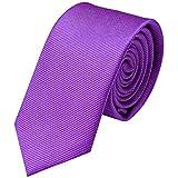 GASSANI Krawatte 6cm Schmal gestreift | Violette Rips Herrenkrawatte zum Sakko |Slim Schlips Binder einfarbig Flieder-Violett mit feinen Streifen