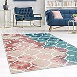 carpet city Teppich Flachflor Inspiration mit Geometrischen Muster, Marokkanischer Stil, Meliert, in Pastellfarben, Blau, Rosa, Creme, Beige für Wohnzimmer, Größe: 160x230 cm