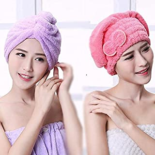 UCTOP STORE 2 Sets Hair Turban Towel Twist Wrap Fast Drying Absorbent Microfiber Dry Hair Cap for Bath Spa(1 light purple triangle cap and 1 red pink butterfly cap)