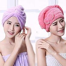 uctop Store 2 Sets pelo turbante toalla anuda rápido secado absorbente de microfibra cabello seco Cap