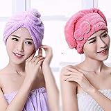 Uctop Store 2set Hair Turban Twist Wrap asciugatura rapida assorbente in microfibra capelli secchi Cap per bagno spa (1viola chiaro triangolo e tappo di 1rosso farfalla rosa)