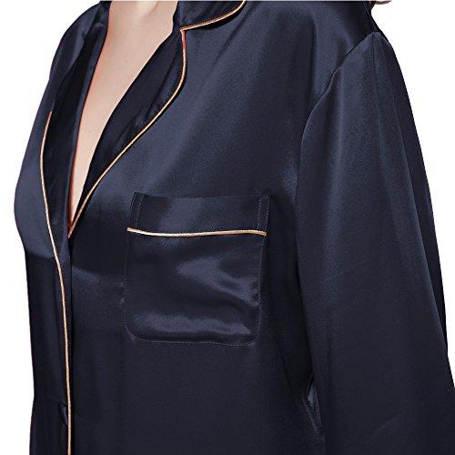 LILYSILK Chemise de Nuit Soie Femme Manches Longues Boutonné Mi-cuisse 22 Momme Bleu Marine