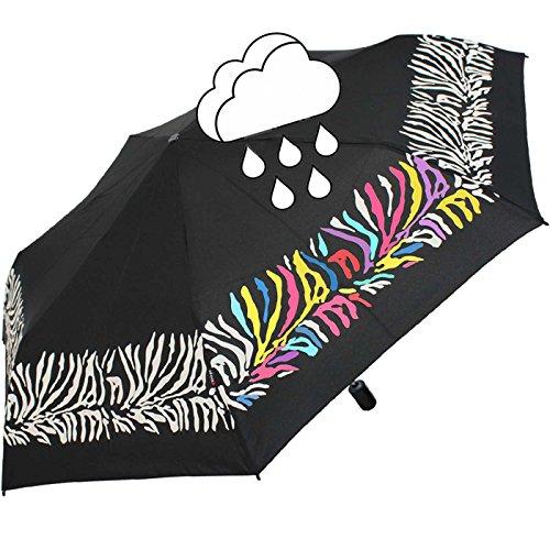 Knirps Regenschirm Slim Duomatic Auf-Zu-Automatik mit Farbwechsel bei Nässe - Zebra