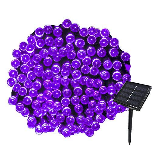 Tuokay 22M Guirnalda de Luces de Energía Solar 8 Modos 200 LED Cadena de Luces Impermeables para Decorar Patio, Jardín, Terraza, Boda, Fiesta, Navidad (Púrpura, 1 Pieza)