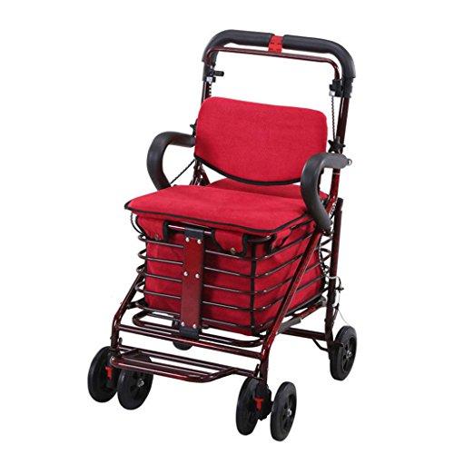Einkaufstrolleys Warenkorb Senior Scooter Old Man Trolley Faltbare Push Sit Walker Mit Seat 4-Rad Warenkorb Einkaufswagen Multifunktionskorb Warenkorb (Color : Red, Size : 90*47*41cm)