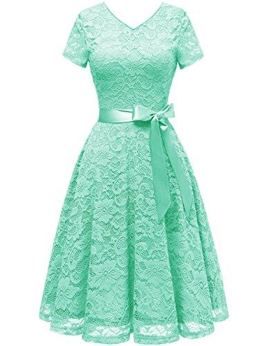 Bridesmay Damen 50S Retro Spitzenkleid kurzarm Elegant Cocktail Abendkleid Mint - Frauen Grün-kleid Mint Für