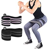 Glute Resistance Bands Set 2 Pack Hip Booty Band Glutes Activation Circle Exercises Loop Elastic Anti Slip for Legs Pilates Home Gym Fitness Workout Yoga Weightlifting Crossfit Squats Physio Women Men