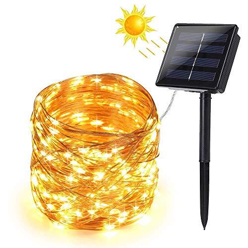 Solar Lichterkette Aussen, BrizLabs 22M 200 LED Außen Kupferdraht Lichterketten 8 Modi Mikro Außenbeleuchtung Wasserdicht für Weihnachten Party Garten...