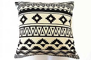 Housse de coussin ethnique noir et blanc - Coussin ethnique noir et blanc ...