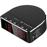Radiowecker Mit Bluetooth-Lautsprecher, Rote Ziffernanzeige Mit 2 Dimmer, UKW-Radio, USB-Anschluss Nachttisch Alarm Cloc