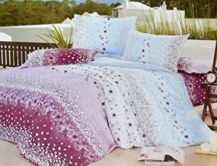 Todd Linen Brand New Multicolored Stylish Designed Super Soft 3 Pcs Queen Set 1 Duvet Quilt Cover + 2 Pillow Case Perfect Bedding Set (Cation Flower