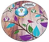 Süßes Eulen bzw. Uhu Mouse-Pad rund 22cm | Qualitäts-Mauspad aus strapazierfähigem Kunststoff mit rutschfester Unterseite aus Zellkautschuk - passend für alle gängigen Mouse-Typen