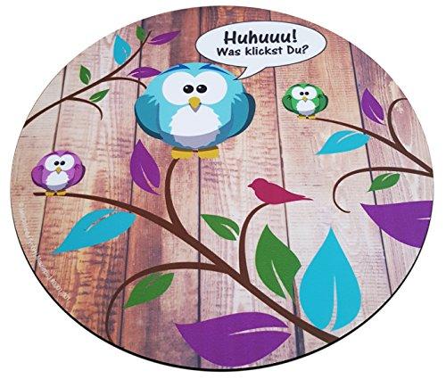 Süßes Eulen bzw. Uhu Mouse-Pad rund 22cm | Qualitäts-Mauspad aus strapazierfähigem Kunststoff mit rutschfester Unterseite aus Zellkautschuk - passend für alle gängigen Mouse-Typen (Kinder Maus-pad Für)
