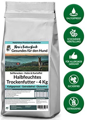 Rosi's Futterglück Halbfeuchtes Hundefutter aus Frischfleisch - 4 kg Premium Trockenfutter Hund getreidefrei - Huhn und Kartoffel 100% frisches Muskelfleisch