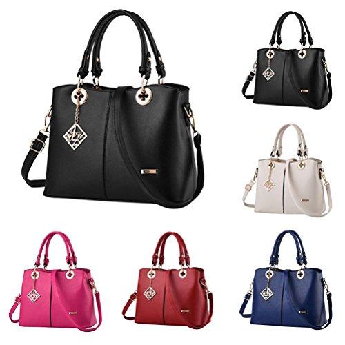ESAILQ Mode Luxueux Classique Sac à bandoulière Haut Manipuler Couleur Unie Sac À Main Épaule Sacs Portés épaule Sac Shoppings pour femmes
