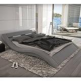SalesFever Polster-Bett 140x200 cm grau aus Stoff mit LED-Beleuchtung | Kool | Das Stoff-Bett ist EIN Designer-Bett | Doppel-Betten 140 cm x 200 cm in Textil, Made in EU