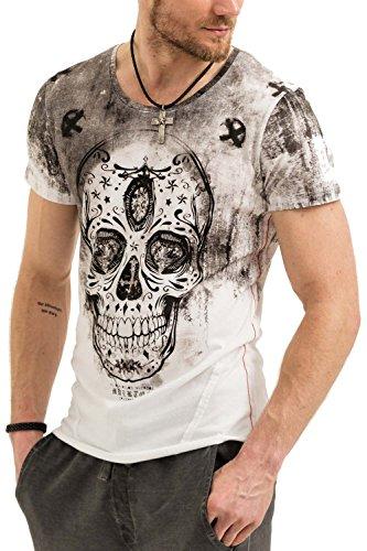 trueprodigy Casual Herren Marken T-Shirt mit Aufdruck, Oberteil cool und stylisch mit Rundhals (kurzarm & Slim Fit), Shirt für Männer bedruckt Farbe: Weiß 1073111-2000-M