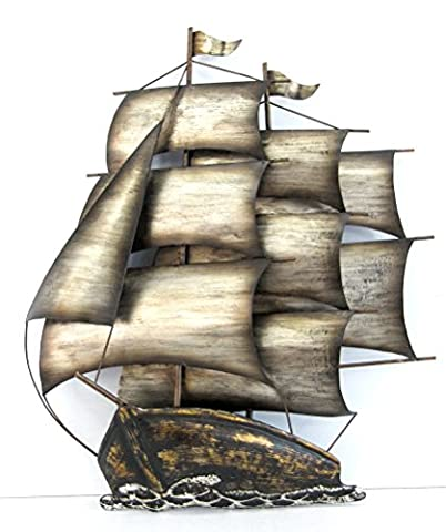 Marvell's Sailing Ship with Three Mast Wall Art, Metal, Bronze, 37 x 7 x 43 cm
