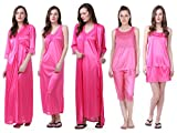 Claura Women's Satin Pack of 6pc Night Dress (Pink)