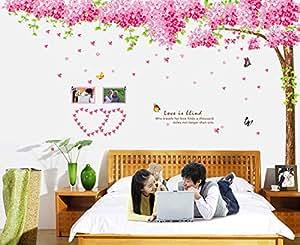 ufengke® XLarge Ciliegio Romantico e Farfalle Adesivi Murali, Camera da Letto Soggiorno Adesivi da Parete Removibili/Stickers Murali/Decorazione Murale, Set di 3 Fogli