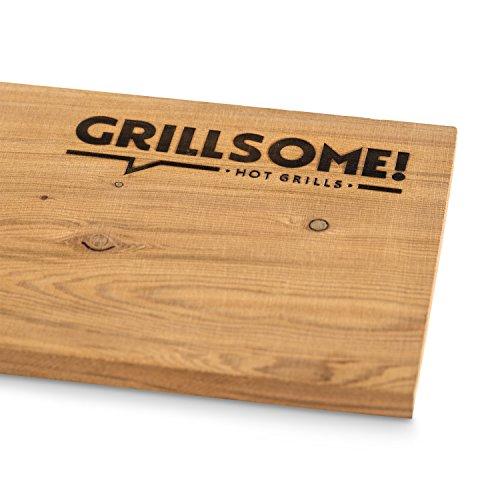 5188ibG0fCL - 4 XL Räucherbretter aus kanadischem Zedernholz (40 x 15 x 1,5 cm) von Grillsome! Grillbretter, Grill-Planken 4 Stück (2 x 2er Set glatte und raue Oberfläche) mehrmals verwendbar, Raucharoma, Planke, Smoker Zubehör