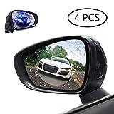 4 Stück HD Auto Rückspiegel-Schutzfolie, Auto Badezimmer Fenster, klar, Anti-Beschlag, Nano-Beschichtung, blendfrei, Anti-Kratz-Displayschutzfolie