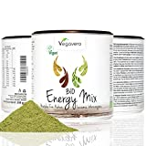 SUPERFOOD ENERGY MIX 200 g de Vegavero, BIO MATCHA+ BIO LÚCUMA + BIO hierba de trigo + BIO cacao en polvo, CALIDAD alimentos crudos, Vegetariana, en el bello agitador de estaño, la calidad de Alemania, 200 g