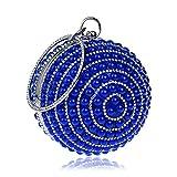 Happyplus1 Dame en Plastique Perle Beded Embrayage Sac à Main Strass Brillant Sac de soirée Ronde Sac à Main poignée Sac à Main Cadeau (Couleur : Bleu)