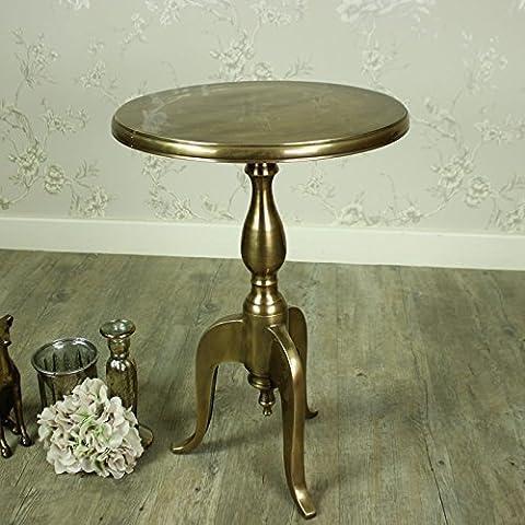 Gold Round Metal Pedestal Side