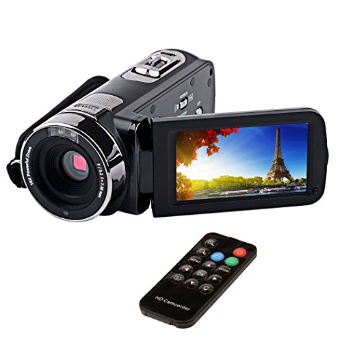 inkint Video-Camcorder mit Fernbedienung 24MP Full HD Digitale Videokamera mit LED Display Professionelle 270-Grad-Drehung für Hause/Reise/Hochzeit Schwarz Gesichtserkennung kamera