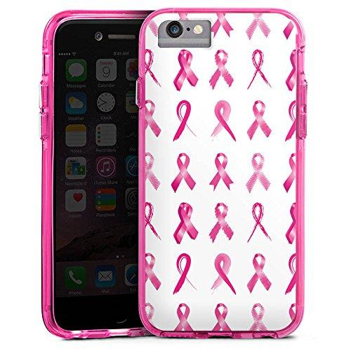 Apple iPhone 6 Bumper Hülle Bumper Case Glitzer Hülle Schleifen Pink Pattern Bumper Case transparent pink