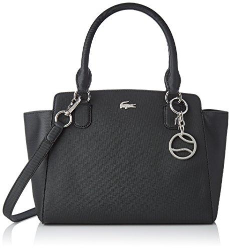 Petite Satchel Handtasche (Lacoste Damen Nf2594dc Tote, Schwarz (Black), 13.5x22x28 centimeters)
