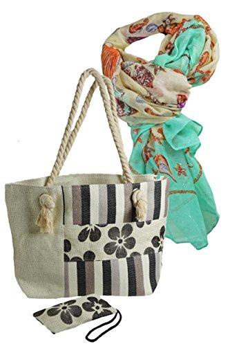 e und kl. Etui, im Geschenk Set mit sommerlichem Muschel Design Schal mit kleinen Glanzlichter, schönes Geschenk Set für Frauen. (Muschel-geldbörse)