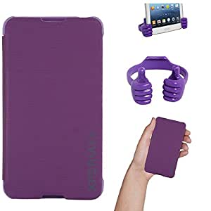DMG Premium Diary Flip Book Cover Case for Sony Xperia E4 (Purple) + Mobile Holder Hand Stand