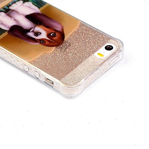 Pour iPhone 5 5S 5G / iPhone SE Case Cover, Ecoway TPU Soft Motif de peint en couleur personalized pattern Housse en silicone Housse de protection Housse pour téléphone portable pour iPhone 5 5S 5G /  chien mignon