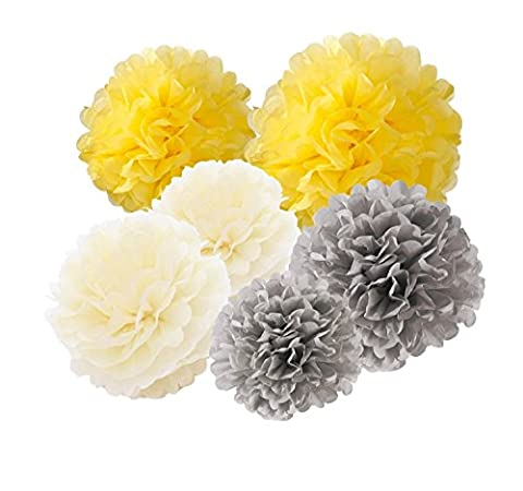 Hanging Tissue Paper Pom Pom 12pcs 10inch 8inch Paper Flowers Rose Hanging Decoration Balls Birthday Baby Shower Wedding Decorations Party Supplies (Grey Yellow