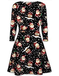 1a7797a74f6 Womens Christmas Dresses Ladies Long Sleeve Olaf Santa Novelty Stocking Xmas  Swing Plus Size