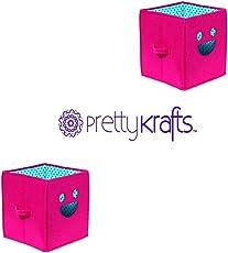 Prettykrafts Smiley Emoticon Multiutility Storage Box, Toy Organizer for Kids - Smiley