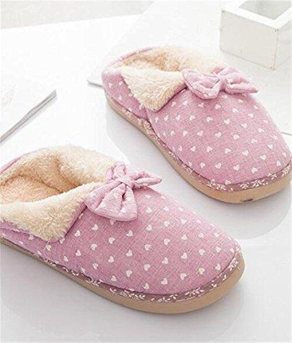 Minetom Uomo Donna Inverno Pantofole Di Cotone Arco Calde Unisex Slipper Banda Coperta Pantofole Viola