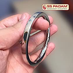 SS Padam Handicraft Industries Stainless Steel Flat Plain Kada For Men (6.4 CM)